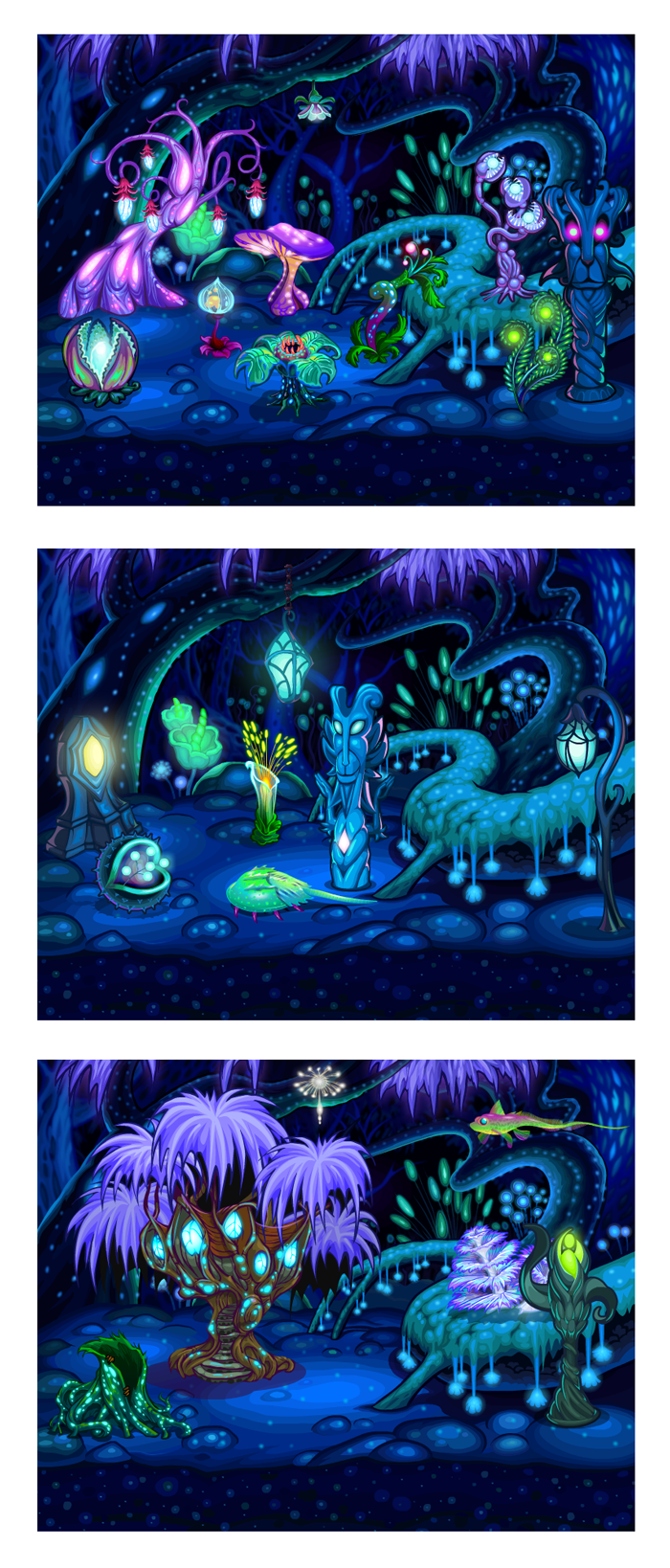 Illuminated Forest theme for Zynga's Fishville