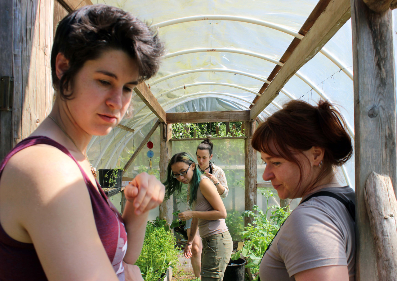 Lauren shows Shing, Eva, and Lyla what's what in the greenhouse.